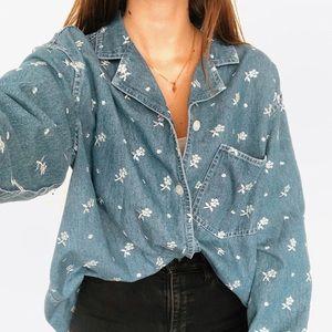 Vintage jean floral button up